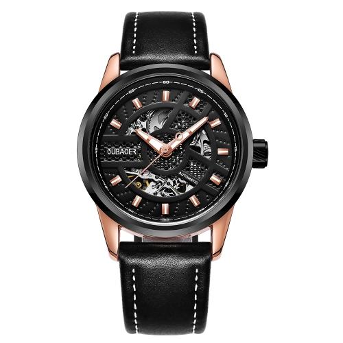 OUBAOER Relógios automáticos de luxo de couro genuíno mecânicos 3ATM resistente à água modelo de moda luminoso homem mania
