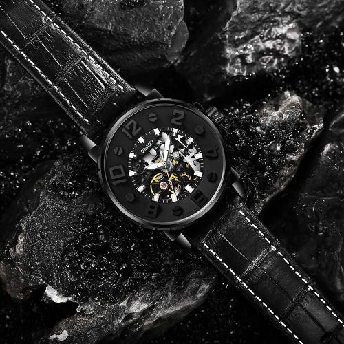 OUBAOER moda cuero genuino relojes automáticos mecánicos 3ATM impermeable luminoso hombre casual reloj de pulsera