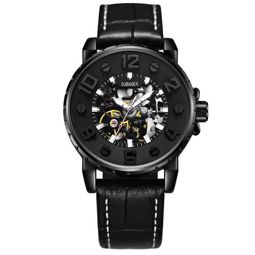 OUBAOER Relógios automáticos genuínos de couro genuíno