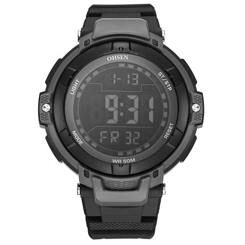 OHSEN Luxury 5ATM Water-Proof Digital Men Relógio de esportes Band de borracha Big Dial Outdoor Casual Relógio de pulso Alarme / Calendário / Cronômetro Masculino Relogio