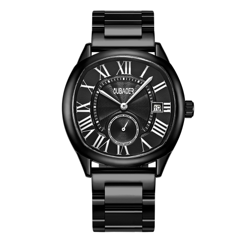 OUBAOER Mode Luxus Edelstahl Männer Uhren Quarz 3ATM wasserdicht Casual Mann Armbanduhr Kalender