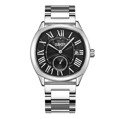 OUBAOER Fashion Luxury Stainless Steel Men Relojes Cuarzo 3ATM resistente al agua Casual Man Reloj de pulsera Calendario