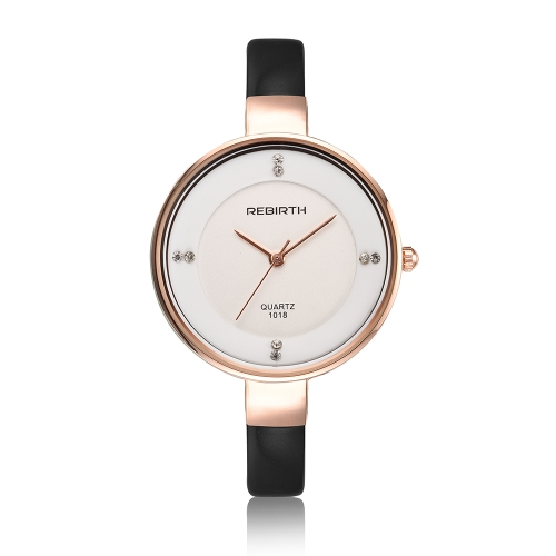REBIRTH Moda relógios de mulher de luxo 3ATM relógio de pulso de quartzo ocasional resistente a água Relogio Feminino
