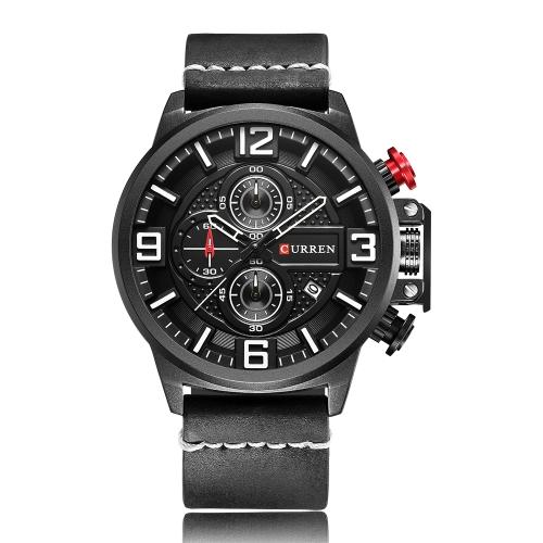 CURREN Mode Sport Männer Uhren Quarz 3ATM wasserdicht Mann Armbanduhr Chronograph