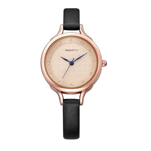 REBIRTH Relógios femininos de moda 1ATM Quartz resistente à água Casual Mulher simples relógio de pulso