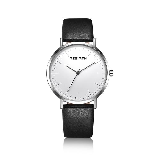 REBIRTH Fashion Men Watches 3ATM resistente al agua de cuarzo Casual mujeres reloj de pulsera simple