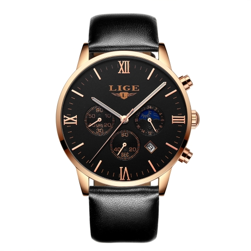 LIGE Relógios de pulso de homem genuíno 3ATM Relógio de quartzo resistente à água Relógio de pulso homem luminoso Relogio Musculino masculino