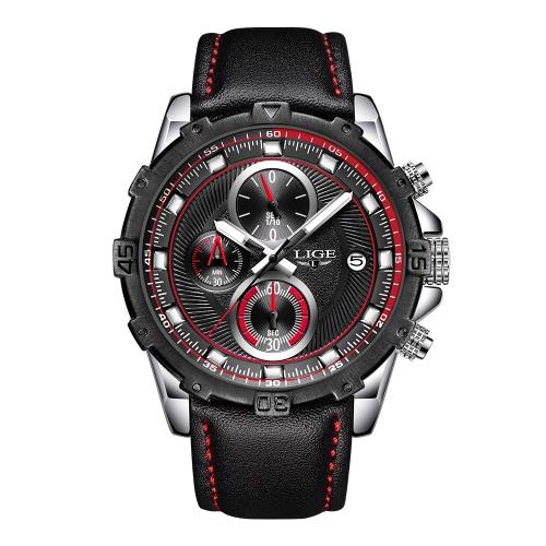 LIGE Mode Sport Männer Uhren 3ATM wasserdicht Quarzuhr Luminous Man Armbanduhr Männlich Relogio Musculino Chronograph