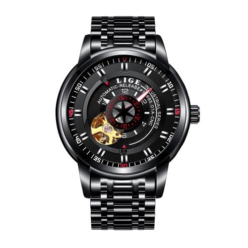LIGE Fashion Business Relógios de aço inoxidável para homem