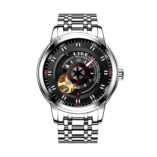 LIGE LG9824 Fashion Business Relojes de acero inoxidable para hombres