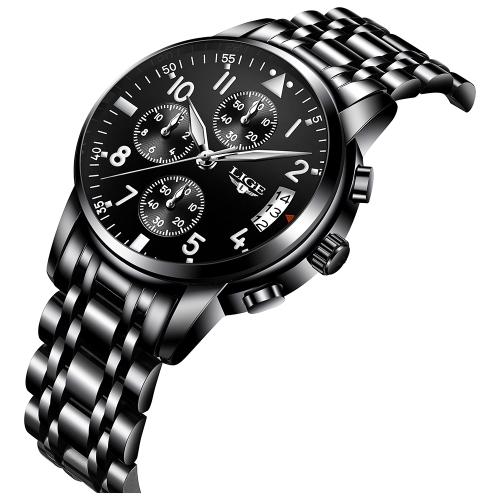 Relógios de luxo de aço inoxidável de luxo LIGE