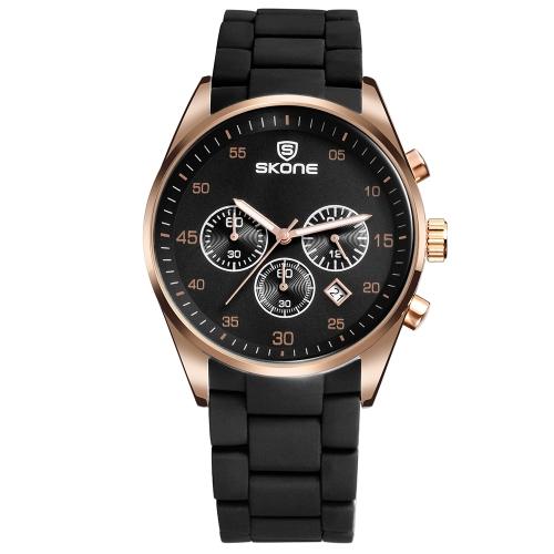 Skone Casual Sport Men Zegarki Męski zegarek kwarcowy 3ATM Wodoodporny zegarek z podświetlanym wyświetlaczem kalendarza