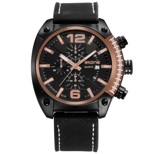 Skone Casual Sport Men Relógios Quartz Male Watch 3ATM Water-resistant Luminous Wristwatch Calendário Time Display