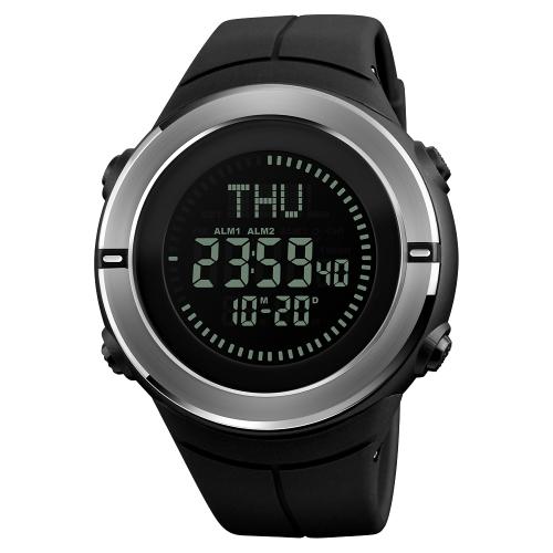 SKMEI Männer 5ATM wasserdicht E-Kompass LED elektronische Uhr Outdoor Sports Digitaluhren Hintergrundbeleuchtung Alarm / Stoppuhr / Count Down / Kalender Datum Fenster / Weltzeit