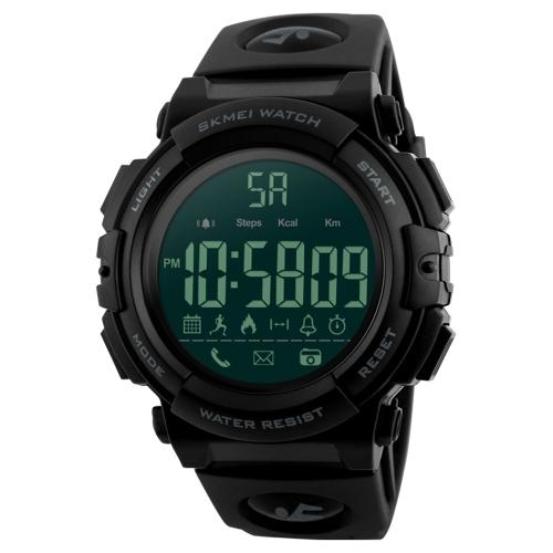 SKMEI Männer 5ATM wasserdicht Sport Fitness Tracker Smart Watch BT Stoppuhr / Count Down / Alarm / Entfernung / Kalorien / Anrufe erinnern / Remote-Kamera-App für iPhone Samsung