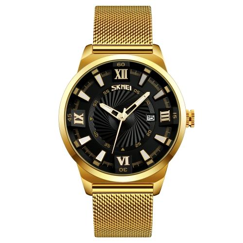 SKMEI Relógio de quartzo casual de moda 3ATM Relógios de pele resistente à água Relógio de pulso de aço inoxidável Masculino Calenda