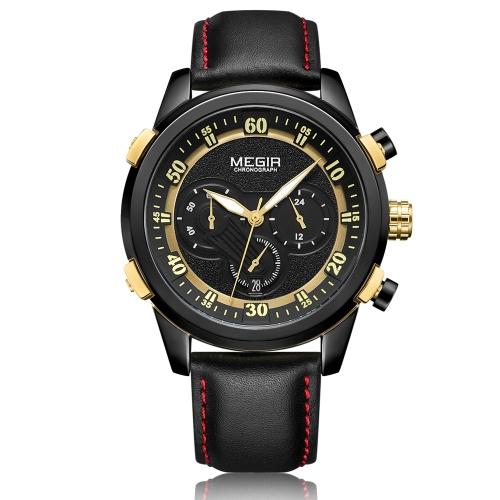 MEGIR Mode Véritable Cuir Hommes Sport Montre 3ATM Étanche Quartz Lumineux Montre-Bracelet Homme Relogio Musculino Chronographe