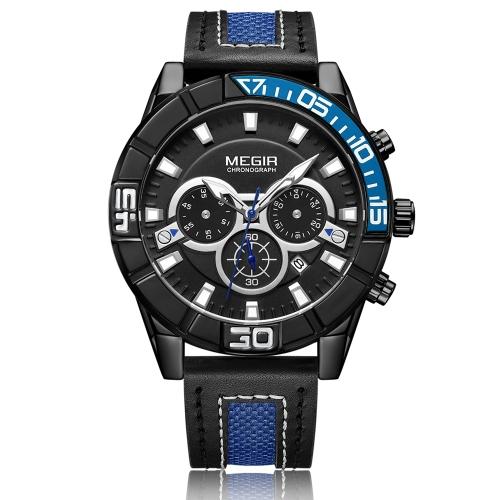 MEGIR Moda Prawdziwej Skóry Mężczyzn Sport Watch 3ATM Wodoodporny Zegarek Kwarcowy Luminous Mężczyzna Relogio Musculino Chronograph