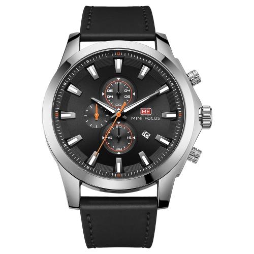 MINI FOKUS Mode Echtes Leder Männer Sportuhr 3ATM wasserdicht Quarz Leuchtende Armbanduhr Mann Relogio Musculino Chronograph