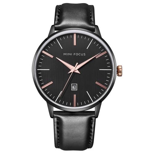 MINI FOCUS Relógios de homem de couro genuíno 3ATM Quartz resistente à água Casual Homem Relógio de pulso Relogio Musculino masculino