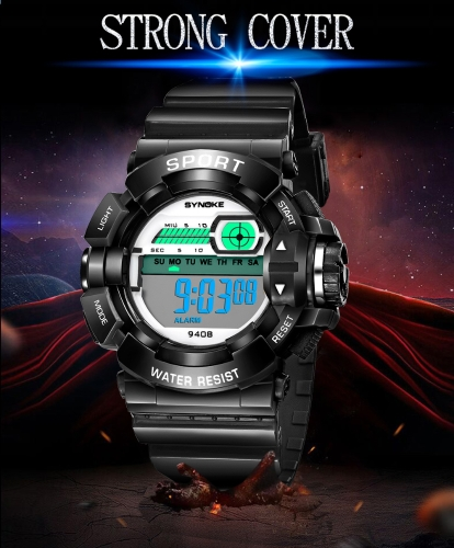 SYNOKE Students Children Sport Watches 3ATM Life Water-resistant Digital Backlight Child Kids Boy Girls Wristwatch Alarm Stopwatch