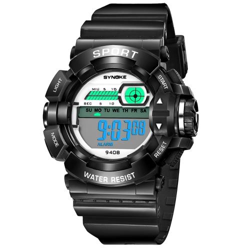 SYNOKE Estudantes Relógios desportivos para crianças 3ATM Vida Resistente à água Digital Backlight Criança Menino Garotas Meninas Relógio de pulso Cronômetro de alarme