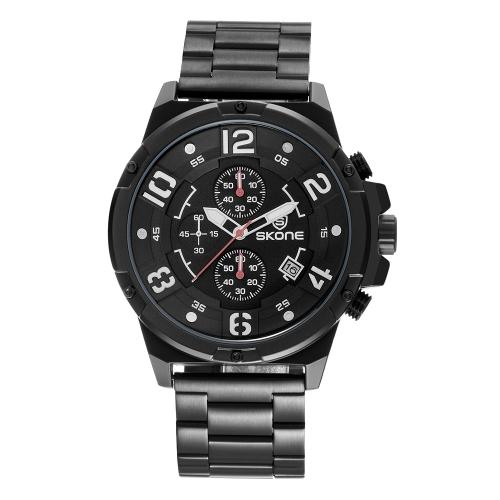 SKONE Fashion Sport Quartz Men Watch 3ATM Reloj de pulsera de acero luminoso resistente al agua Male Relogio Musculino Chronograph