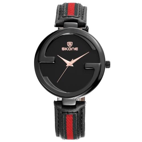 SKONE Fashion Quartz Genuine Leather Women Watch 3ATM Relógio de pulso casual resistente à água Mulher Relogio Feminino