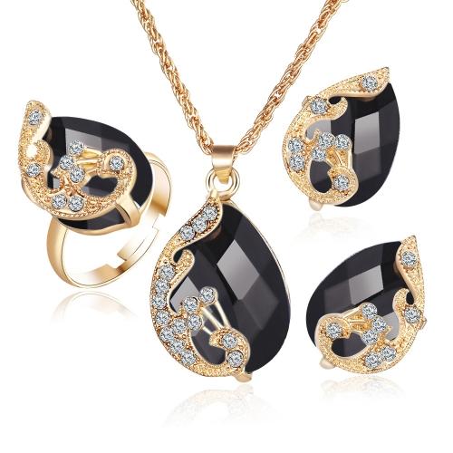 Moda pozłacany zestaw biżuterii Crystal Drop Wisiorek Peacock Naszyjnik Kolczyki Ring Trzyczęściowy dla kobiet