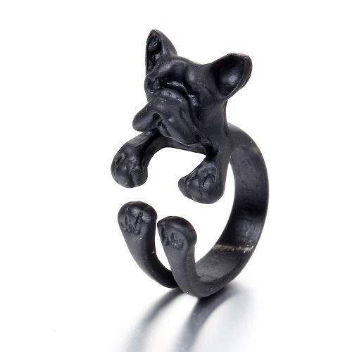 Modny modny pies pierścień Buldog otwarty pierścień dla kobiet osobowość Biżuteria strony dekoracji