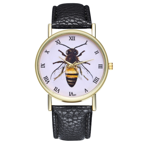 Vintage Honey Bee Insect Leather Watch