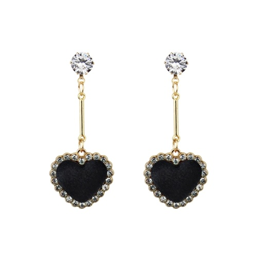 Fashion Retro Velvet Plaid Love Heart Diamond Orecchini pendenti lunghi Orecchini Accessorio per ornamenti
