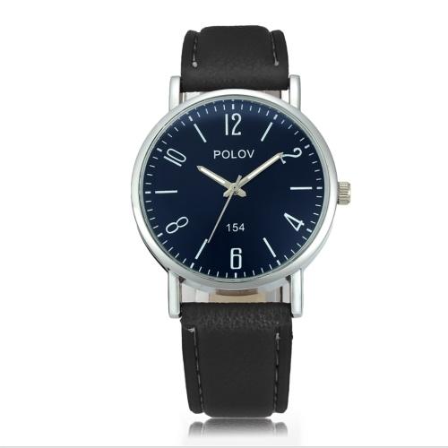 Quartz montre PU montre-bracelet en cuir montre Casual horloge pour les femmes et les hommes