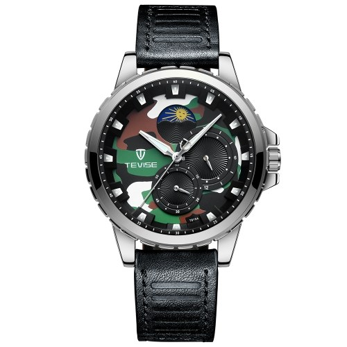 TEVISE T815A Stainless Steel Watch Wrist Watch Top Brand Luxury Quartz Watch Men Casual Leather Luminous Waterproof Moon phase Watch