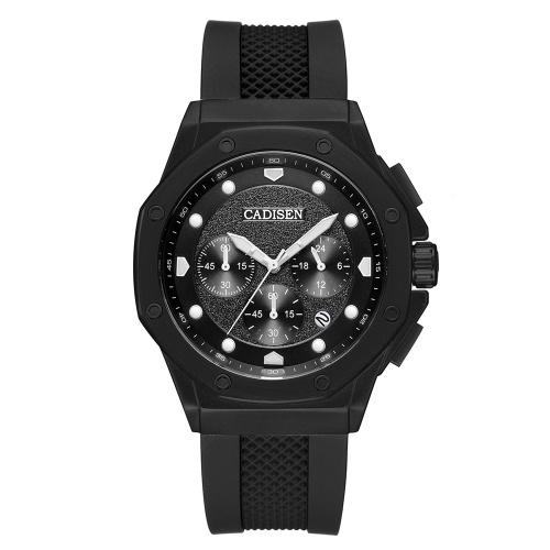 Cadisen Montre Homme Sport Chronographe Horloge Quartz Montre-Bracelet Bracelet en Silicone Hommes