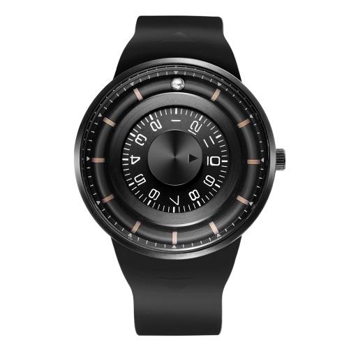 SKONE Men Watch Creative Rotation Dial Magnetic Ball Wrist Watch Silicone Strap Waterproof Sport Watch for Men