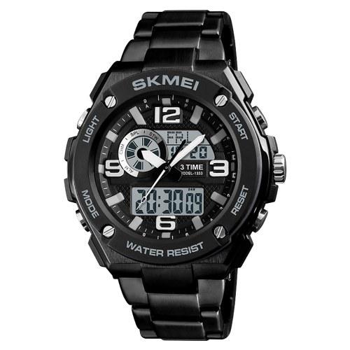 Image of SKMEI 1333 Männer Quarz 3 Zeit Chrono Uhren Countdown Analog Digitalanzeige Armbanduhr 5ATM Wasserdichte Mode Lässig Hintergrundbeleuchtung Multifunktionale Uhren