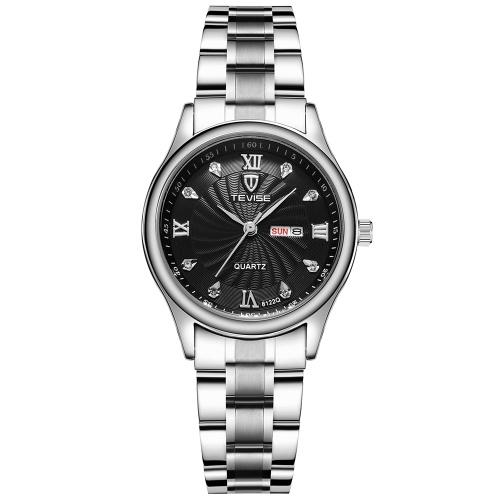 7bb1a89b360 TEVISE 8122Q Mulheres Relógio de Quartzo Pulseira de Aço Inoxidável Simples Relógio  de Pulso Vida À
