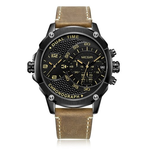 MEGIR 2093Gマン腕時計クォーツスポーツデュアルタイムゾーンレザーウォッチデジタルアナログ防水腕時計ギフトボックス付き