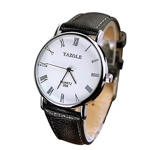 YAZOLE 268 Man Fashion Casual Business Leather Quartz Watch