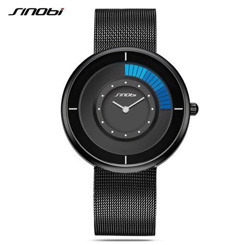 SINOBI 9703 Simple Men Watch Stainless Steel Strap Quartz Movement Watch