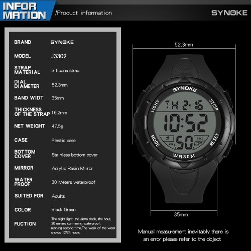 Image of SYNOKE 9005 Sport Watch LED Digital Watch Alarm Luminous Second Timing Daily Waterproof Sport Band