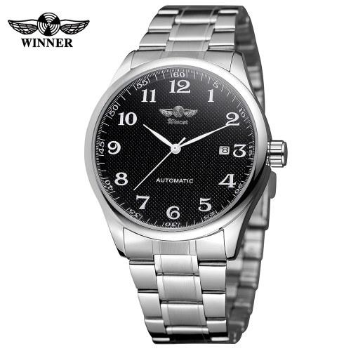 WINNER 458 Men Watch Semi-Automatic Mechanical Watch Time Calendar Fashion Casual Stainless Steel Strap Male Wristwatch Relogio Masculino