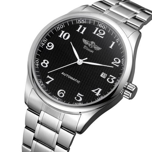 WINNER 458 Мужские часы Полуавтоматические механические часы Часы Календарь Модные повседневные Нержавеющая сталь ремешок Мужские наручные часы Relogio Masculino фото