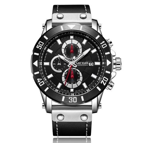 MEGIR 2081 Watch Men Sport Chronograph Leather Strap Quartz Movement Watch