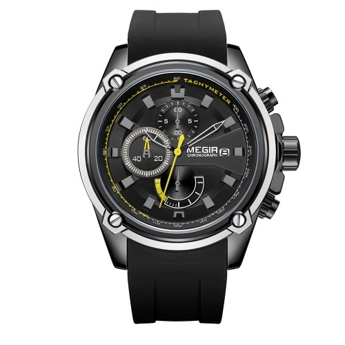 MEGIR 2086 Watch Men Sport Chronograph Silicone Strap Quartz Movement Watch
