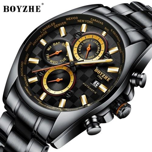 BOYZHE WL018-G Uhrenmarke Luminous Waterproof Business Vollautomatische Mechanische Männer Edelstahl Armbanduhr mit Geschenkbox