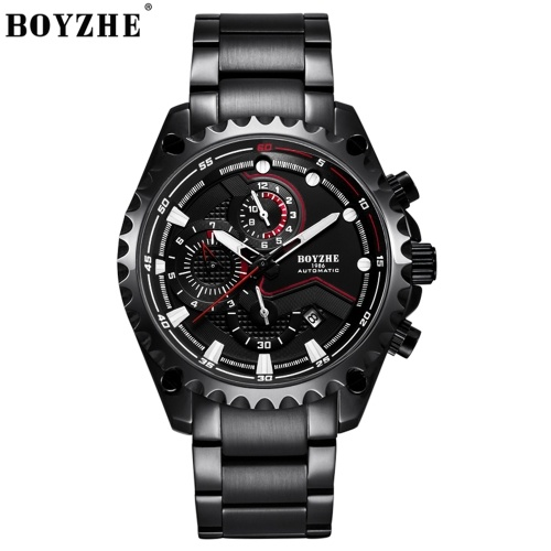 BOYZHE WL022-G Uhrenmarke Luminous Waterproof Business Vollautomatische Mechanische Männer Edelstahl Armbanduhr mit Geschenkbox
