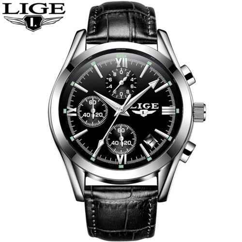 LIGE 9839 relógio de quartzo homens simples tempo calendário exibir relógio de pulso