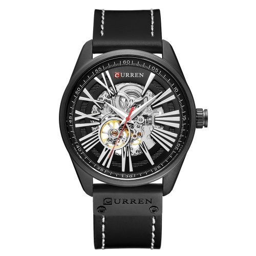 CURREN 8299 Herrenuhr Marke Mechanische Tourbillon Armbanduhr